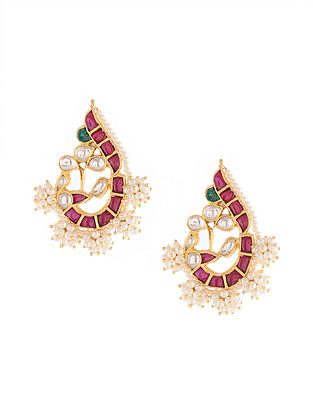 Gold Tone Kundan Silver Earrings with Red and Green Onyx