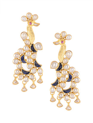 Blue Gold Tone Kundan Silver Earrings with Pearls