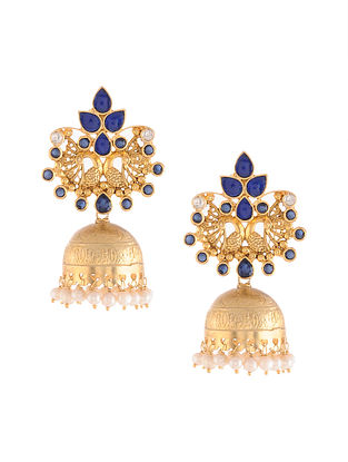 Gold Tone Kundan Silver Jhumki Earrings with Blue Sapphire and Pearls