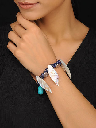 Turquoise, Mother of Pearl and Lapis Lazuli Beaded Silver Bracelet