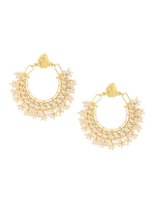 Kundan-inspired Gold-plated Silver Earrings with Pearls