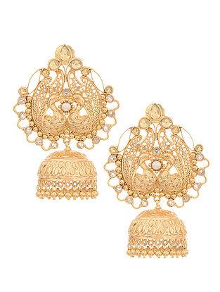 Kundan-inspired Gold-plated Silver Jhumkis