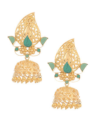 Turquoise Gold-plated Silver Jhumkis