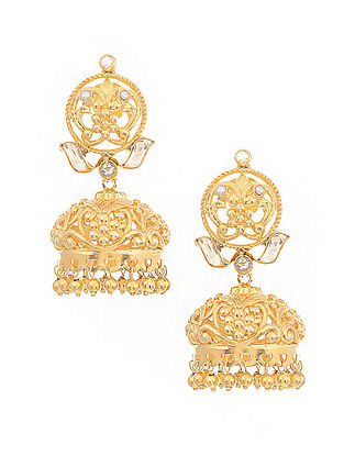 Mother of Pearl Gold-plated Silver Jhumkis