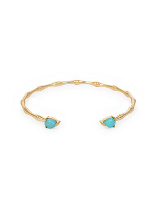 Turquoise Gold Plated Silver Cuff