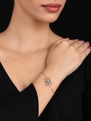 Turquoise Gold Plated Silver Bracelet