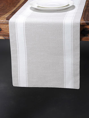 Grey-White Cotton Ripped Striped Runner (70in x 14in)