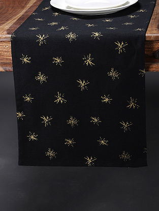 Black Printed Cotton Table Runner (107in x 13.5in)
