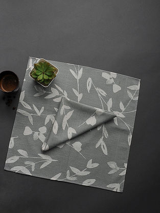 Grey Printed Cotton Napkin (Set of 2) (18in x 18in)