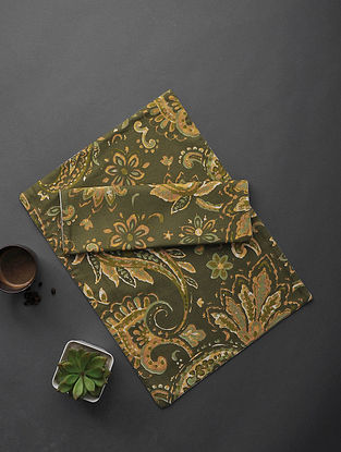Olive Green Floral Printed Cotton Table Mat (Set of 2) (19in x 13.5in)