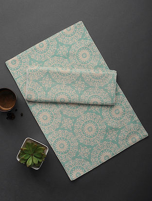 Aqua Floral Printed Cotton Casement Table Mat (Set of 2) (20in x 13in)