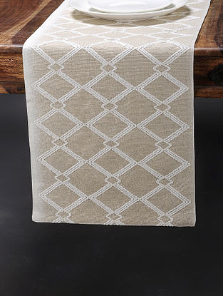 Beige-White Embroidered Cotton Linen Table Runner (Set of 2) (70in x 13in)