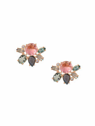 Pink-Grey Gold Tone Rosaleen Multigem Cluster Stud Earrings