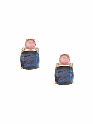 Pink-Grey Gold Tone Rosaleen Stud Earrings