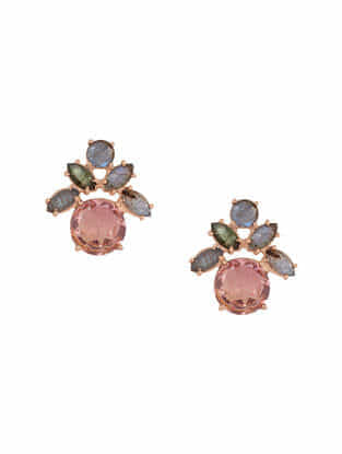 Pink-Grey Gold Tone Rosaleen Crystal and Labradorite Stud Earings