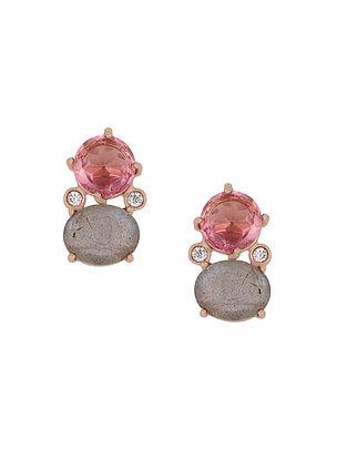 Pink-Grey Gold Tone Rosaleen Duo Stud Earrings