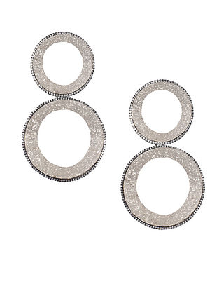 Silver Tone Zabel Double Hoop Earrings