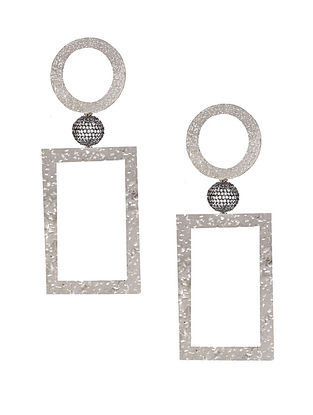 Silver Tone Zabel Square Drop Earrings