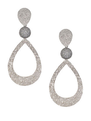 Silver Tone Zabel Large Drop Earrings