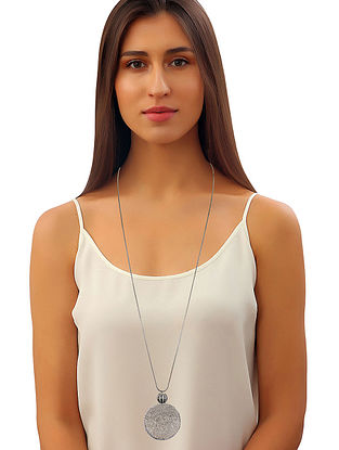 Silver Tone Zabel Circular Long Necklace