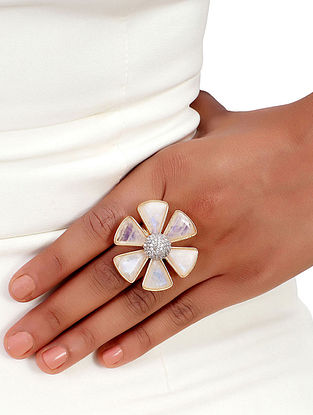 White Gold Tone African Daisy Moonstone Ring