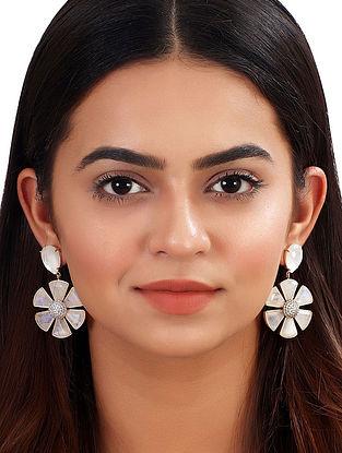 White Gold Tone African Daisy Moonstone Earrings