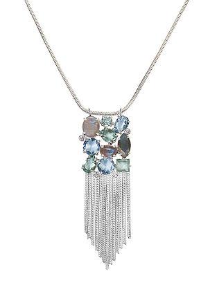 Blue-Grey Bluette Statement Tassel Necklace