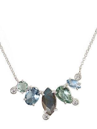Blue-Grey Bluette Multigem Delicate Necklace
