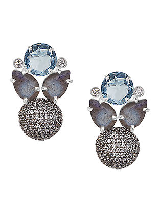 Blue-Grey Bluette Pave Stud Earrings