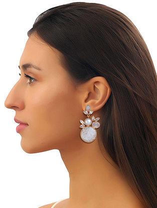 White-Gold Pearl Gemstones Bianca Mist Cluster Earrings