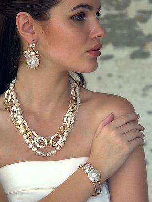 White-Gold Druzy Gemstone Mist Cuff