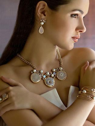 White-Gold Mist Statement Necklace