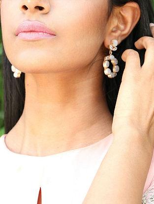 White-Gold Pearl Gemstones Bianca Mist Hoops