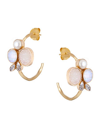 White-Gold Pearl and Moonstone Bianca Demi Hoops