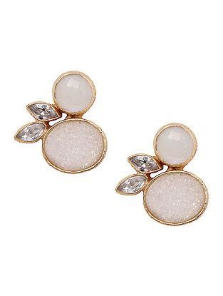 White-Gold Moonstone & Druzy Stud Earrings