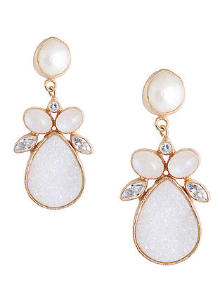 White-Gold Pearl and Druzy Mist Drop Earrings