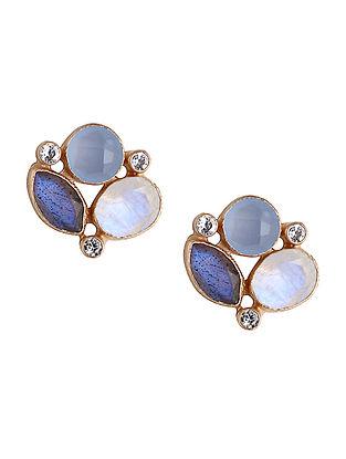 Blue Chalcedony and Zirconia Stud Earrings