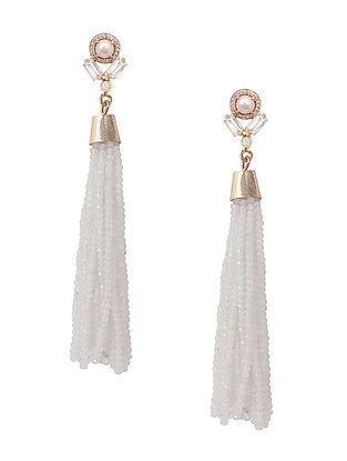 White Pearl and Moonstone Fall Tassel Earrings