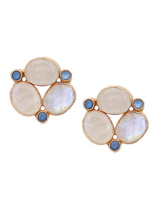 White-Gold Moonstone and Blue Chalcedony Stud Earrings