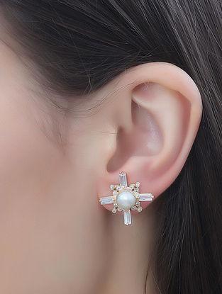 White-Gold Pearl Zircon Baguette Soleil Mist Stud Earrings