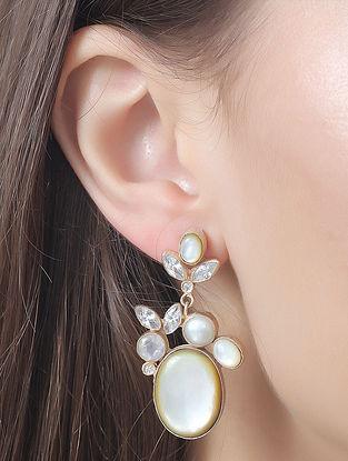 White-Gold Pearl Gemstones Holly Mist Drop Earrings
