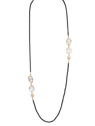 3af4ff9d1 White-Black Pearl and Gemstone Carbon Long Necklace
