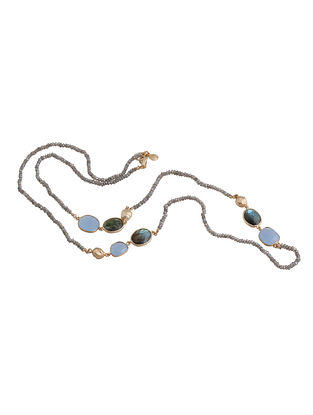 Grey Labradorite and BlueChalcedonyLong Necklace
