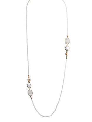 White-Gold Pearl and Gemstone Mist Long Necklace