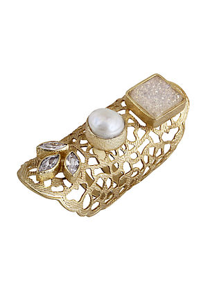 White-Gold Pearl and Druzy Long Finger Mist Ring