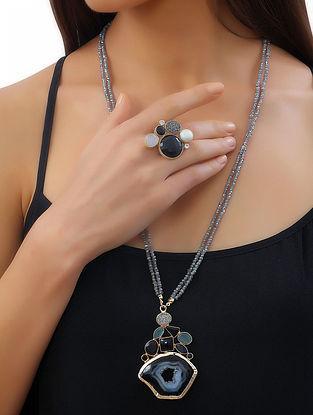 Black- Grey Gemstone Druzy Noir Statement Ring