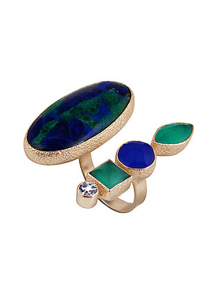 Blue-Green Azurite Mazarine Double Finger Ring