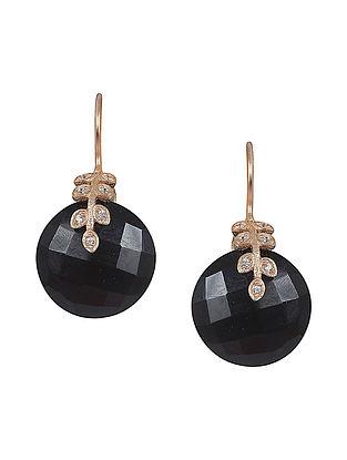 Black Onyx Round Laurel Noir Drop Earrings