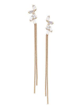 White-Gold Baguette Zirconia Glamrock Tassel Earrings