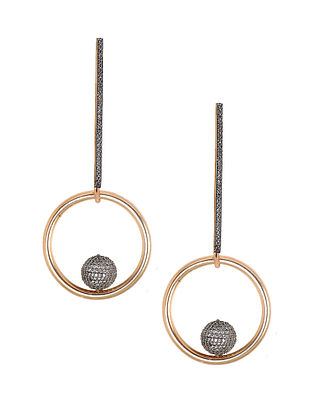 Gold-Silver Corona Needle Drop Earrings